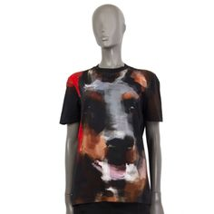 authentic Givenchy Doberman printed t-shirt in black, red, brown, grey and pink cotton Has been worn and is in excellent condition. Military Style Shirts, Givenchy Shirt, Banded Collar Shirts, Cut Shirts, Sleeveless Shirt, Doberman, Military Fashion, Street Chic, Tank Top Shirt