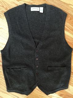 Orvis Mens Large Sweater Vest Button Merino Wool Cashmere Blend Charcoal Gray L  | eBay