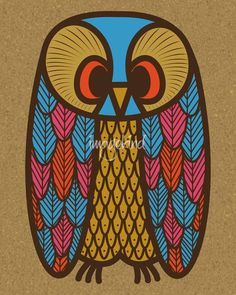 """Owl "" by Donna Mibus: Owl, Mid Century Modern style. // Buy prints, posters, canvas and framed wall art directly from thousands of independent working artists at Imagekind.com."