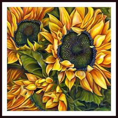 Brilliant Sunflowers Framed Art by Debra Bucci - Approximate size 24.5 inches…