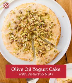 This ultra-easy, flavorful lime, pistachio nut and olive oil yogurt cake is incredibly moist and pleasantly sweet. A thin powdered sugar icing made with lime juice and a garnish of salty pistachio nuts is the perfect finishing touch!