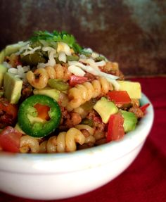 Can modify this with ground turkey and brown rice pasta :) Spicy Ground Beef Taco Pasta - Vegan, Vegetarian - or Not!