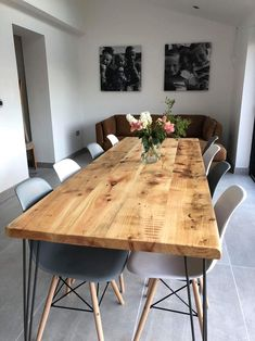 table legs Omni Dining Table with Hairpin Legs - Free Delivery Dining Table Legs, Square Dining Tables, Wooden Dining Tables, Dining Area, Kitchen Dining, Hairpin Dining Table, Chunky Dining Table, Industrial Dining Tables, Scandi Dining Table
