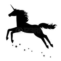 Silhouette einer sch nen magische Einhorn Illustration auf wei em Hintergrund…