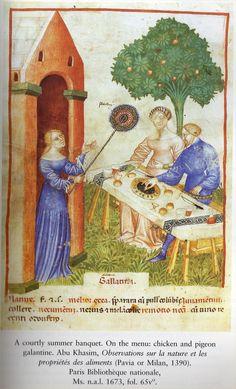 """""""A courtly summer banquet""""  Abu Khasim, Observations sur la nature et les proprietes des aliments (Milan or Pavia, 1390).  Paris, Bibliotheque nationale Ms. n.a.l. 1673, fol. 65v"""