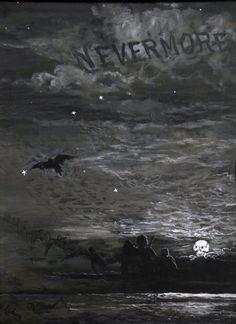 """Ilustração de James Carling para o poema """"O corvo"""""""