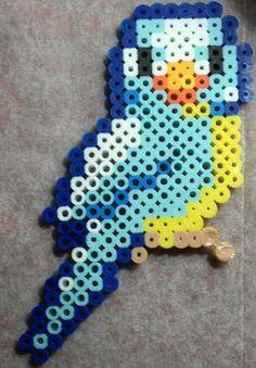 Blue Parakeet bird perler beads by Elly-Monshtawr on deviantart