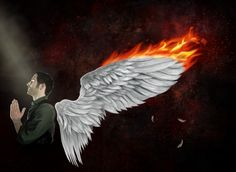 Lucifer. Burning wings.