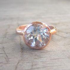 14k Rose Gold Ring and White Topaz Gemstone ROCK door onegarnetgirl