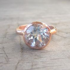 14k Rose Gold Ring and White Topaz Gemstone, ROCK Fetish, Made to Order