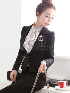 Gorgeous Gray Stand Collar Ruffles Long Sleeves Imitated Silk Shirt - Milanoo.com