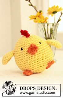 "Crochet DROPS Easter chicken in ""Paris"". ~ DROPS Design"
