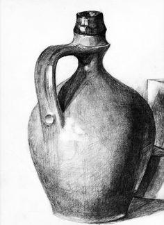 Resultado de imagem para easy still life drawings in pencil Graphite Drawings, Pencil Art Drawings, Realistic Drawings, Cool Drawings, Drawing Sketches, Drawing Faces, Contour Drawings, Charcoal Drawings, Pencil Sketching