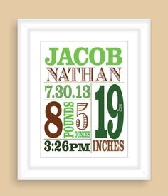 Printable DIY Baby Birth Stats 8x10 Newborn BOY Wall Art Print Nursery Gift - PDF File on Wanelo