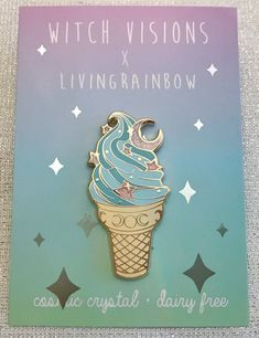 """Moon & Stars """"Cosmic Crystal Dairy Free"""" Ice Cream Enamel Pin by witchvisions on Etsy Jacket Pins, Pink Moon, Hard Enamel Pin, Cool Pins, Metal Pins, Pin And Patches, Pin Badges, Stars And Moon, Lapel Pins"""