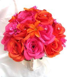 Fushia Pink Orange Silk Wedding Bridal 17 piece set by SilkFlowersByJean, $350.00