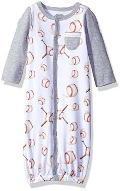 Mud Pie Baby Boys' Convertible Sleepwear Gown, Baseball/Gray, Months: These comfortable and adorable convertible sleep gowns from Mud Pie go from a sleep gown to playwear by simply repositioning the inner-leg snaps. Little Boy Outfits, Baby Boy Outfits, Kids Outfits, Kids Fashion Boy, Cute Baby Clothes, Baby Month By Month, Cold Shoulder Dress, Mud Pie, Gowns
