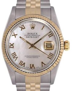 Rolex Datejust Stainless Steel & 18K Yellow Gold White Roman Mother Of Pearl Dial Automatic 36mm Mens Watch