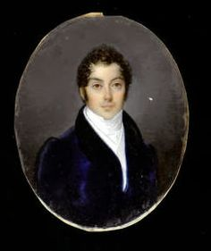 French School, early 19th Century -  A portrait of a Gentlemen wearing blue coat with velvet collar, white waistcoat, matching chemise and stock. It is erroneously signed and dated, Guérin 1826, gilt-metal mount set within rectangular frame covered with red velvet; Oval, 85mm (3 3/8in)
