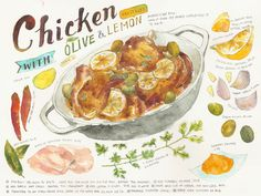 Chicken with Olive & Preserved Lemon 2It is still hard to draw on a bigger paper than mole skin sketchbook….;( Typo looks soooo ugly ;(