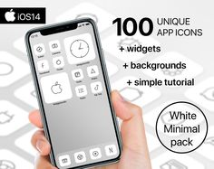 100 Premium App Icons - White Minimal edition - iPhone iOS14 - Customisable Apple Homescreen + 4 widgets + 3 backgrounds + Simple Tutorial Music Clock, Screen Icon, Phone Books, Custom Icons, Etsy App, Facetime, App Icon, Homescreen, The 100