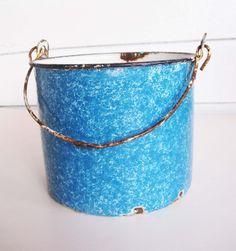 A Super Blue Graniteware Bucket With White Interior  by ZulasHouse, $19.00