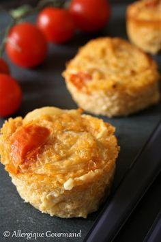 Flans au quinoa et tomates cerises. Une recette sans gluten, sans œufs avec possibilité sans lait expliquée sur le blog
