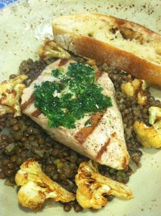 #TGUTC Grilled Local Yellowtail over Curried Lentils with Roasted Cauliflower. Side Salad.