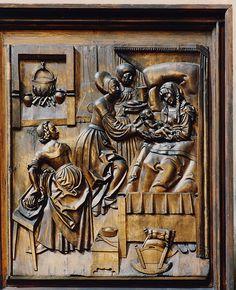 Bamberg, Oberfranken, Bayern, Dom St. Peter und St. Georg, Veit-Stoß-Altar  the birth of Mary