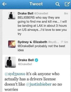 No one hates Justin Bieber more than Drake Bell... and it's awesomely hilarious.