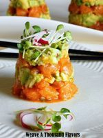 One Fish, Two Fish, Cold Fish ~ Sriracha Salmon Ceviche Towers with Garden Guacamole & Radish Sprouts  - Weave a Thousand Flavors