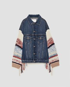 Image 11 of DENIM JACKET WITH CONTRASTING SLEEVES from Zara