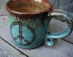 LOVE!!!!! Handmade Coffee Mug Flower Child Peace Symbol by CropCircleClay