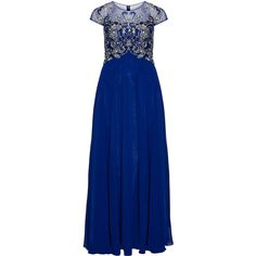 angel forever Blue / Silver Plus Size Embellished evening gown ($620) ❤ liked on Polyvore