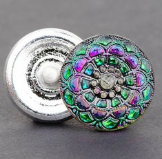 Czech Glass Round Lacy Snowflake Button at #SolanaKaiBeads #CzechGlassButtons @SolanaKaiBeads