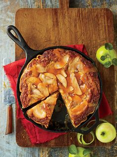 Caramel Apple Blondie Pie~ Buttery rich layers of tender cake and caramelized apples. The secret to the crisp, flaky crust is baking in a cast-iron skillet on a lower oven rack.