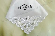Embroidered Handkerchiefs custom personalized for your Bride,Mother of the Bride Gift, Bridesmaids Mother of the Groom. Created in super soft cotton and embellished with venice lace on one corner to create an elegant bridal handkerchief. Visit my shop at www.CoutureWeddingHankie.etsy.com to view my designs