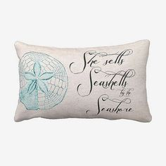 Beach Pillow Cover She Sells Seashells