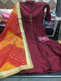 Gown Price @ 2999Shipping Silk stitchd gowns wd buttons wd leggings Wd kotta silk duppta  Size 42-44 Send inquiry or join our broadcast list on Whatsapp (9929033908)  #Gown #legging #KotaSilk