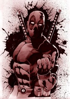 I like the blood splat background on this for a deadpool tattoo