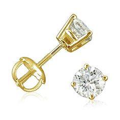 1/2ct Diamond Stud Earrings set in 14K Yellow Gold with Screw-Backs - Latest Jewellery Designs | Latest Jewellery Designs