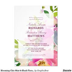Shop Blooming Floral Mint & Blush Pink Spring Wedding Invitation created by GraphicBrat. Spring Wedding Invitations, Elegant Invitations, Zazzle Invitations, Chic Wedding, Summer Wedding, Pastel Colour Palette, Pastel Mint, Watercolor Wedding Invitations, Peony Flower