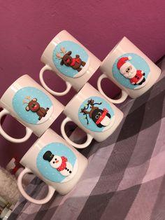 Polymer clay handmade homemade christmas santa penguin reindeer snowman snow mug blue
