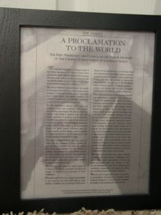 Family - Family Proclamation Picture. Printed on Vellum with photo behind. what a great idea!