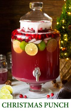Christmas Punch - this Christmas Punch has been my go-to holiday drink for 10+ years! It's so delicious and perfectly festive and the whole family loves it! And it only takes minutes to make. #christmas #thanksgiving #punch #drink #recipe #cranberry #almond #thanksgivingpunch