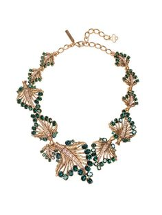Jeweled Leaf Necklace