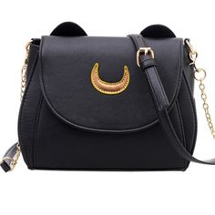SheIn(sheinside) Crescent Patch Flap Bag With Cat Ears - Black ($17) ❤ liked on Polyvore featuring bags, handbags, shoulder bags, black, flap bags and patch purse