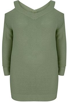 Product review for YoursClothing Plus Size Womens Knitted Cold Shoulder Jumper With Pointelle Detail.  - Plus size khaki knitted cold shoulder jumper with poinelle detail running down either side of the garment. Featuring a v-neckline, full length sleeves, and ribbing to the neck, cuffs and hem. Style this super chic jumper with grey skinny jeans and heeled boots for an on trend daytime...
