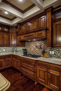 45 stunning modern dream kitchen design ideas and decor 17 Rustic Kitchen Cabinets, Rustic Kitchen Design, Kitchen Cabinet Styles, Kitchen Redo, Home Decor Kitchen, New Kitchen, Home Kitchens, Kitchen Remodel, Rustic Cherry Cabinets