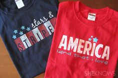 Patriotic stenciled t-shirts (with free stencil patterns)